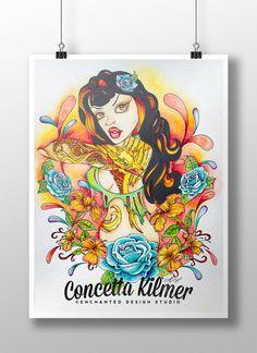 Tattoo Art - Fairy Art - Pop Surreal Art Print - Decor - Fantasy Wall Art - Tattoo Wall Art - Phoenix - Comic Art - Pin Up Art Print