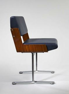 Roger Tallon; Palisander, Steel, Aluminum and Leather Chair for Flambo, 1966.