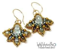 Lotus Drop Beaded Earrings Aquamarine Apatite Gold Filled Wire.