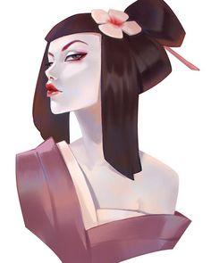 "430 Likes, 8 Comments - Anna Maystrenko (@lagunaya) on Instagram: ""#geisha #art #portrait #girl #instaart #drawing #cg #digitalart #instagood #practice #love """