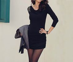 Casual Draped Collar Sequined Long Sleeve Women's Dress (BLACK,ONE SIZE) | Sammydress.com