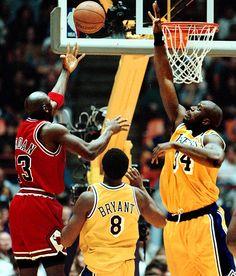 Michael Jordan, Shaq and Kobe Bryant Basketball Pictures, Love And Basketball, Basketball Legends, Sports Basketball, Basketball Players, Sports Teams, Bryant Basketball, Basketball Shirts, Chicago Bulls