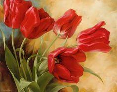 obraz Malované červené tulipány