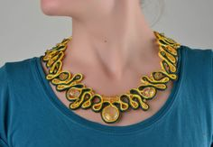 Beautiful Handmade Soutache Necklace with Glass Beads Designer Accessory Gift | eBay