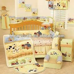 Baby Cow Nursery Bedding Yellow Sheep Cotton Crib Set