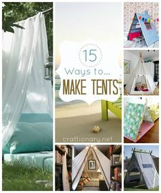 Ways to make tent (DIY tent). Make play tent for kids in 15 different ways with tutorial to help you make. Great reading space for kids in summer and indoor Diy Zelt, Diy Pour Enfants, Diy And Crafts, Crafts For Kids, Baby Crafts, Deco Kids, Ideias Diy, Camping Parties, Summer Activities