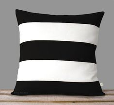 Rugby Striped Pillow Cover in Black and Cream Linen by JillianReneDecor - Modern Home Decor - Stripes - Black and White Decorative Pillows