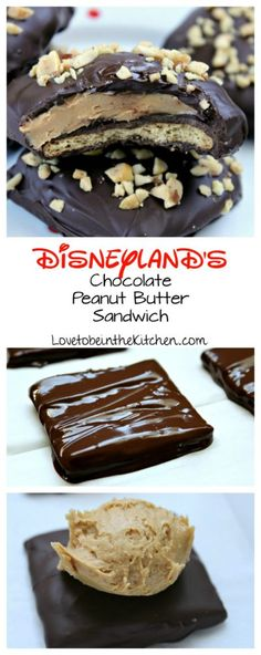 Disneyland's Chocolate Peanut Butter Sandwich- A delicious copycat recipe from one of the best treats at Disneyland! A layer of chocolate covered graham cracker topped with a creamy peanut butter laye (Favorite Cake Graham Crackers) Chocolate Peanuts, Best Chocolate, Chocolate Peanut Butter, Chocolate Recipes, Chocolate Torte, Chocolate Treats, Chocolate Truffles, Chocolate Brownies, Delicious Chocolate