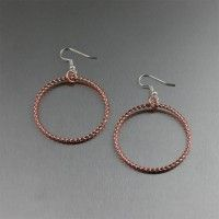 Twisted #Cable #Copper Hoop #Earrings. Simplicity at its finest!    http://www.ilovecopperjewelry.com/twisted-cable-copper-hoop-earrings.html  $24.00