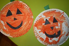 Jack-O-Lantern paper plate craft from Kenna's Felt Forest