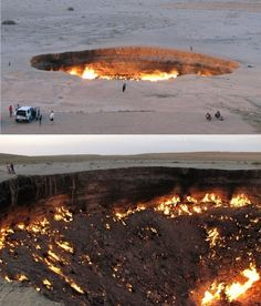 "People visiting ""The Gateway to Hell,"" a huge burning gas crater in the heart of Turkmenistan's Karakum desert. The fiery pit was the result of a simple miscalculation by Soviet scientists in 1971 after their boring equipment suddenly drilled through into an underground cavern and a deep sinkhole formed.... the flames have not gone out in more than 40 years.<<<<haha nice try but I know an entrance to Tartarus when I see one"