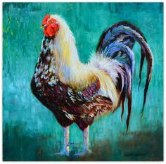 """Majestic Rooster is an 18""""x18"""" oil on deep profile canvas.  Standing tall and representing on a teal background."""