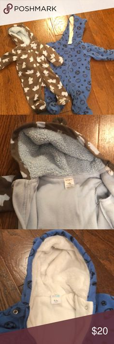 Fleece lined onesies Light blue and brown is newborn and the other is 0-3 months. Excellent condition. Hardly worn. Perfect for these winter days! Carter's Jackets & Coats