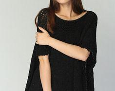 Punto de la mujer Poncho / capelet eco algodón poncho negro-listo para enviar
