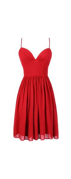 True To You Sweetheart Neckline A-Line Chiffon Dress in Red  www.lilyboutique.com