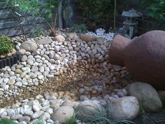 River rock with water feature