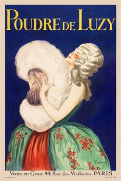 Poudre De Luzy by Leonetto Cappiello 1919 French - Vintage Poster Reproduction. This vertical French poster features a woman in white wig and formal gown holding a giant powder puff against a blue background.