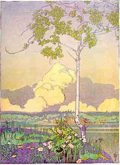 Walter J. Phillips (Canadian, 1884-1963). Norman Bay, Lake of the Woods. 1920. Colour woodcut.