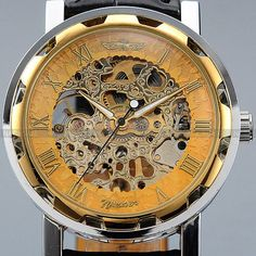 Men's Stainless Steel Dial Skeleton Black Leather Classic Mechanical Sport Army Wrist Watch - marketplacefinds  - 3