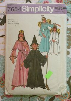 Omg I remember my Mom used this pattern to make a fairy princess costume for me back in the 60's. Simplicity 7684 Vintage 1970s Girls Costume Pattern by Fragolina, $4.00