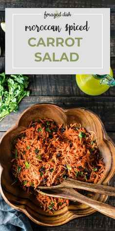 Moroccan Carrot Salad is a quick recipe: only 4 real salad components, if you don't count the spices that give it that Moroccan flare. Carrots, parsley, raisins, and lemon vinaigrette. Then, ground cumin, coriander, paprika, cayenne, and cinnamon pop in and dress it up. Thanks to those spices, this