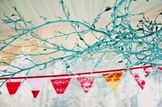 handmade wedding ideas reception decor bunting banners turquoise branches