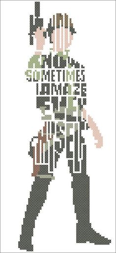 #251 BOGO FREE! Star Wars Character Han Solo quote Cross Stitch Pattern - pdf pattern instant download For your consideration is a beautiful counted cross stitch pattern/chart as shown in the picture. Pattern Details: This pattern is in PDF format and consists of a floss list, and