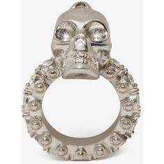 Alexander McQueen Jewelled Skull Ring ($225) ❤ liked on Polyvore featuring jewelry, rings, silver, alexander mcqueen ring, skull head ring, rhinestone rings, jewels jewelry and skull jewellery