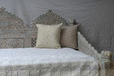 Carved Whitewashed Indian Day Bed | SHOP NECTAR: Home of fair trade and unique gifts, teas, architectural details, reclaimed and custom furnishing from around the world all in High Falls, NY