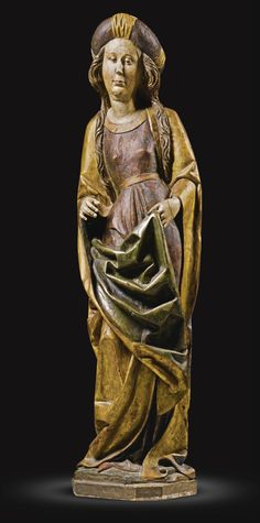 GERMAN, MIDDLE RHINE OR FRANCONIA, CIRCA 1490 - FEMALE SAINT - with remnants of an old label with Gothic lettering to the top of the head, and a label numbered: 133. on the reverse gilt and polychromed limewood, on a wood base.