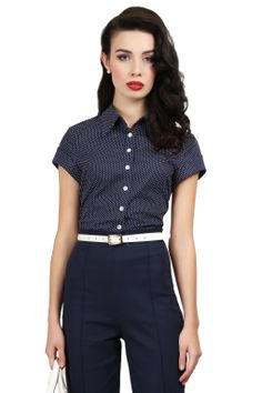 Collectif Clothing - 50s Virginia Pindot Blouse in Navy