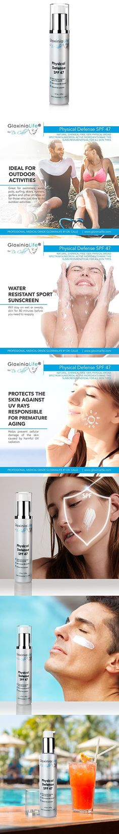 GloxiniaLife by Dr. Calle Physical Defense SPF Broad Spectrum Facial Sport Physical Sunscreen with Zinc Oxide and Titanium- Anti Aging with UV Skin Block Protection, Water Resistant, oz Tinted Moisturizer, Broad Spectrum, Sunscreen, Anti Aging, Physics, Facial, Sport, Water, Deporte