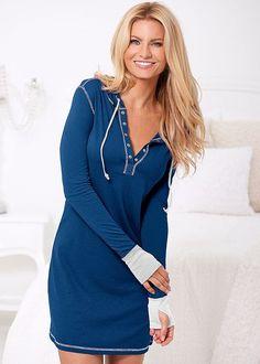 Venus Women's Sleep Shirt Pajamas - Blue/white, Size XS