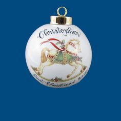 Personalized Hand Painted Christmas Ornament with Rocking Horse  570x570