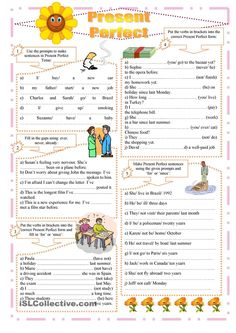 Present Perfect exercises  Present Perfect Worksheet from iSLCOLLECTIVE (My login name is PiggyMama)