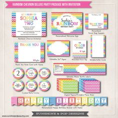 Rainbow Chevron Party Printable Package - Digital Invitation water bottle labels party circles favor tags & more - DIY decorations banner