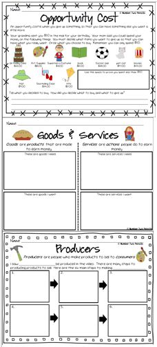 "This economics unit includes 33 goods vs. service cards for sorting and high engagement games 9 vocabulary cards technology resources 6 student response sheets covering the concepts of goods/services, opportunity cost, and consumers/producers. 11 page early reader ""What is... Economics?"" for students introducing economic vocabulary and concepts covered in the unit. $"