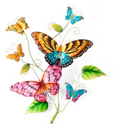 Hand Painted Metal #Butterflies #Wall #Art - Only at Wind & Weather!