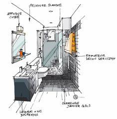 salle de bain mosaïque. Croquis architecture intérieure - Dominique JEAN