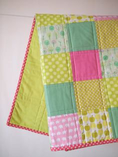 BABY QUILT Modern Pink and Green Baby Quilt by TwoCornerQuilts, $128.00