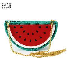 BRIGGS 2017 New Summer Style Fresh Watermelon Straw Bag Casual Beach Bag Purses and Handbags Crossbody Bags For Women(China (Mainland))