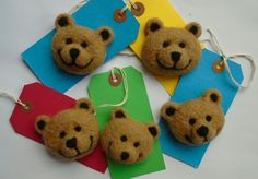 Needle felted teddy brooches - SShaw