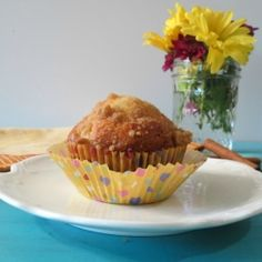 A light, moist, healthy muffin chock full of pears and topped with a sweet crumble topping.