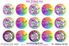 Rainbow Tie-Dye ♥ Shop our Digital Bottle Cap Images @ www.thetrendyowl.com!