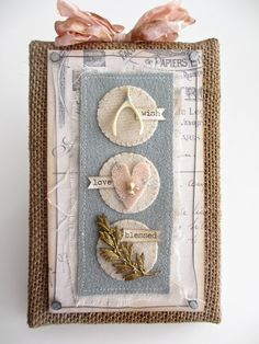 craft, felt hearts, mothers day, burlap canvases, tag, card, tim holtz, burlap panel, alter