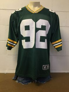 Reggie White made in 1995 by startersatheletic apparel. Green Bay Packers Jerseys, Vintage Football, Nfl Football, 90s Fashion, Costumes, Sleeves, How To Wear, Tops, Blouses