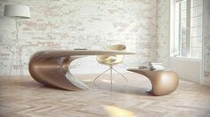Desk,Chair, Coffee table//Nebbessa Table//ultra modern taking the form of a wave //very cool