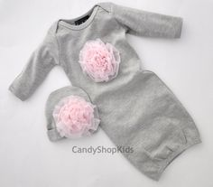 Newborn Infant Girl Gray and Pink Clothes Gown with Pale Pink Chiffon Rosette Flowers Layette Outfit