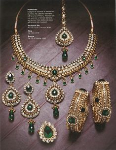 beautiful kundan emerald and diamond jewellery, set in 22 karat gold. perfect for bridal jewellery look, to match a dress with a green border with gold zardosi work.