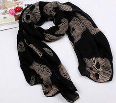 Fashion lady's Skull Scarf Long Chiffon Scarf Women's Korean Version Silk Wraps #ShawlWrap